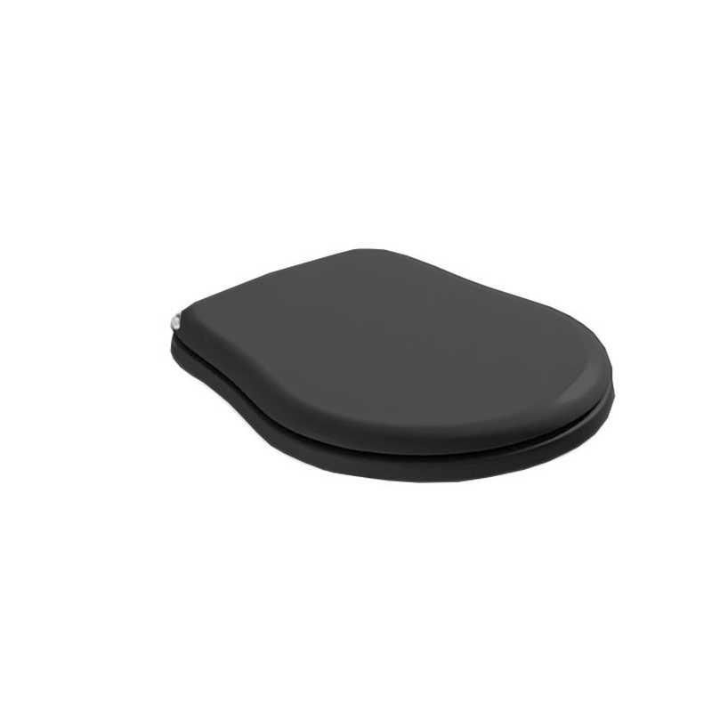 Крышка-сиденье Kerasan Retro 108804 Soft-Close, черное глянцевое, петли хром