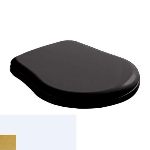Крышка-сиденье Kerasan Retro 108704 Soft-Close, черное глянцевое, петли золото