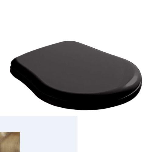 Крышка-сиденье Kerasan Retro 108604 Soft-Close, черное глянцевое, петли бронза