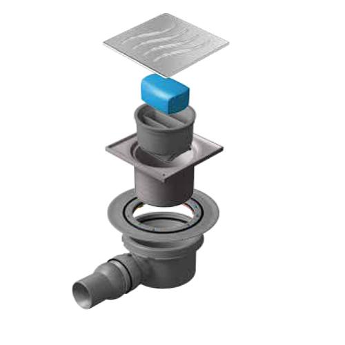 Трап водосток Pestan Confluo Standard Dry 1 100*100 нержавеющая сталь без рамки 13000015