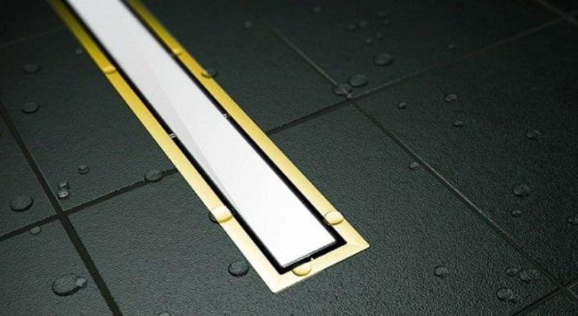 Душевой лоток Pestan Confluo Premium White Glass Gold Line 300, решетка белое закаленное стекло-золото 24К 13100088
