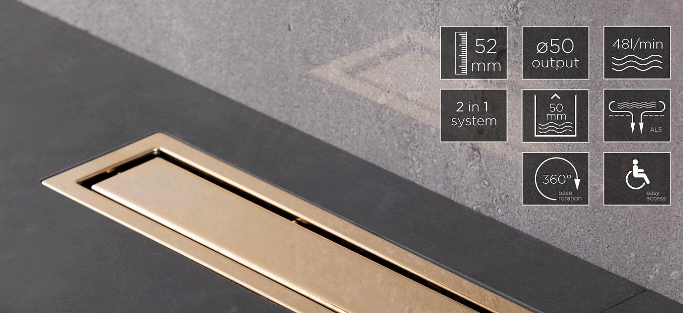 Душевой лоток Pestan Confluo Premium Gold Line 550, решетка нержавеющая сталь с золотым покрытием 24К 13100052