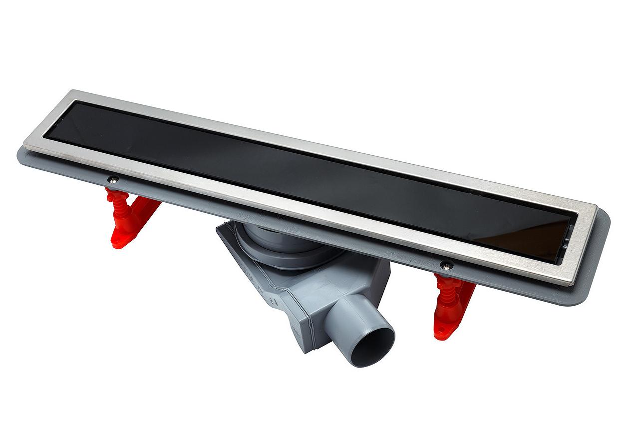 Душевой лоток Pestan Confluo Premium With Black Glass Line  650, решетка черное закаленное стекло-сталь 13000293