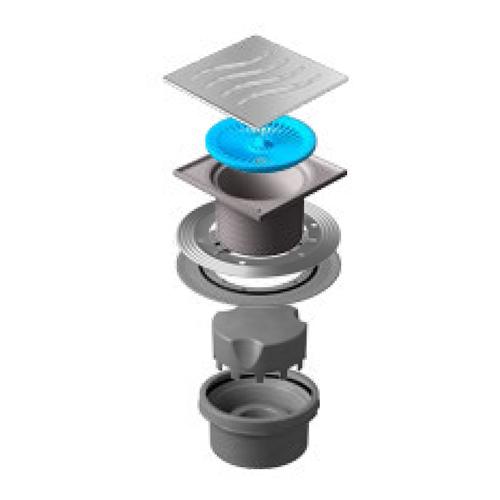 Трап водосток Pestan Confluo Standard Vertical Tide 150*150 мм нержавеющая сталь без рамки 13000018