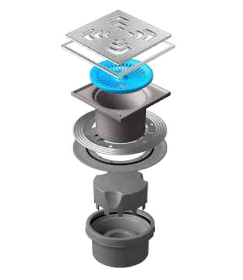 Трап водосток Pestan Confluo Standard Vertical Square Mask 150*150 мм нержавеющая сталь с рамкой 13000076