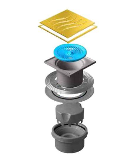 Трап водосток Pestan Confluo Standard Vertical Tide Gold 150*150 мм нержавеющая сталь 13000163