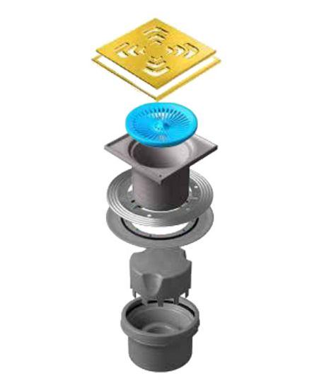 Трап водосток Pestan Confluo Standard Vertical Square Gold 150*150 мм нержавеющая сталь 13000165