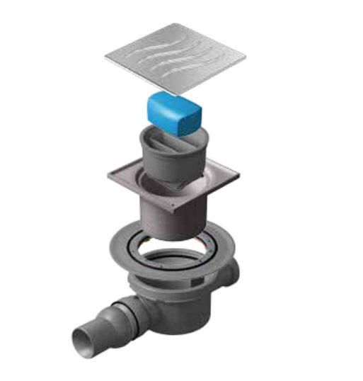 Трап водосток Pestan Confluo Standard Dry 2 100*100 мм нержавеющая сталь без рамки 13000016