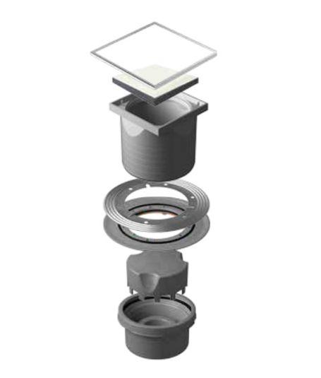Трап водосток Pestan Confluo Standard Vertical White Glass 150*150 белое стекло нержавеющая сталь с рамкой 13000098