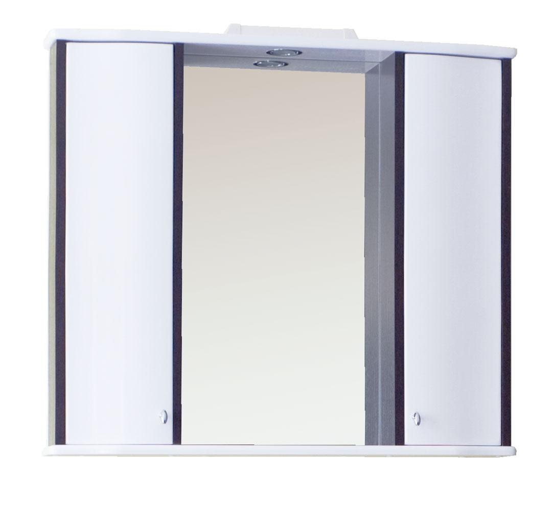 Зеркало Аллигатор ВОЯЖ 2, с подсветкой и двумя шкафами, цвет белый с венге, 85*15*73,2 см