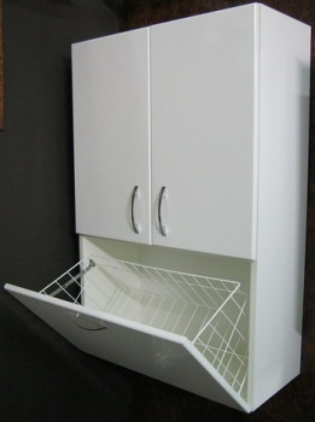 Шкаф над стиральной машиной Vod-ok 60 с бельевой корзиной, цвет венге