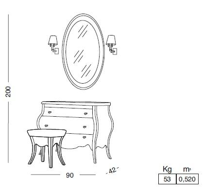 Комплект мебели Eurodesign Prestige Композиция № 6/B, Avorio Perlato/Аворио жемчужный