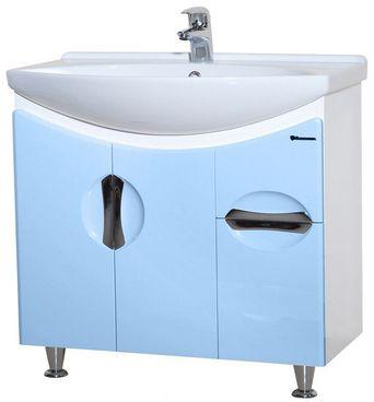 Тумба с раковиной Bellezza ЛАГУНА 75, с одним ящиком, напольная, цвет - голубой