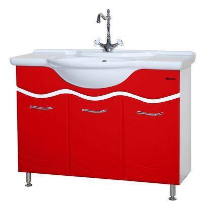 Тумба с раковиной Bellezza МАРИ 105, напольная, цвет - белый/красный