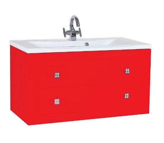 Тумба с раковиной Bellezza Милан 100, подвесная, цвет красный