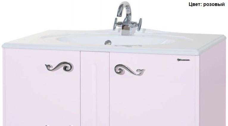 Тумба с раковиной Bellezza Эстель 90, напольная, цвет розовый