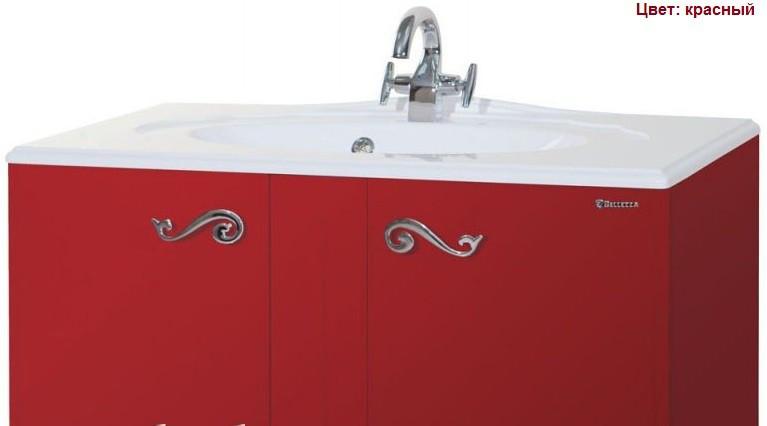 Тумба с раковиной Bellezza Эстель 100, напольная, цвет красный