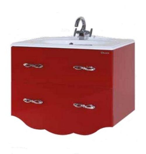 Тумба с раковиной Bellezza ВЕРСАЛЬ 80, подвесная, цвет - красный