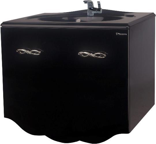 Тумба с раковиной Bellezza ВЕРСАЛЬ 80, подвесная, 2 ящика 1 внутренний, цвет - черный