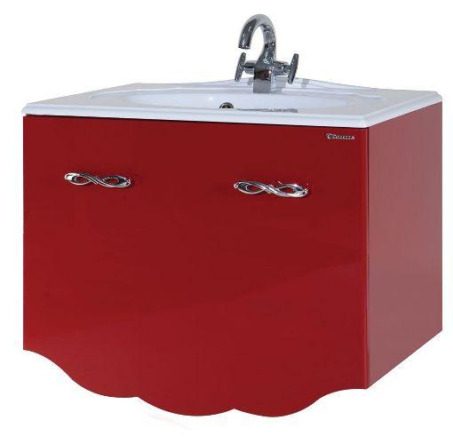 Тумба с раковиной Bellezza ВЕРСАЛЬ 80, подвесная, 2 ящика 1 внутренний, цвет - красный