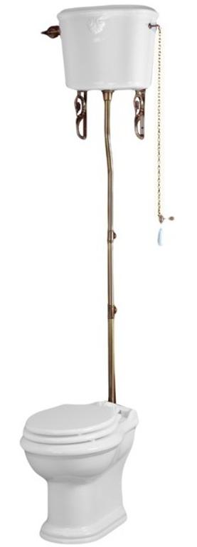 Унитаз напольный с высоким бачком Migliore Impero, фурнитура бронза