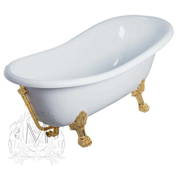 Ванна из литьевого мрамора Migliore Bella ML.BLL-40.401.DO, фурнитура золото