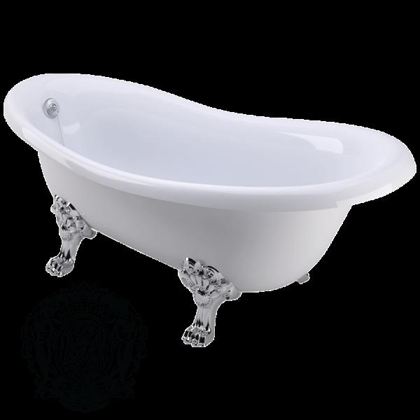 Ванна из литьевого мрамора Migliore BELLA ML.BLL-40.402 CR на лапах Migliore, фурнитура хром, 170*80*64 см