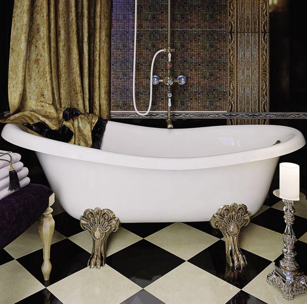 Ванна из литьевого мрамора Migliore BELLA ML.BLL-40.402.BR на лапах Migliore, фурнитура бронза, 170*80*64 см