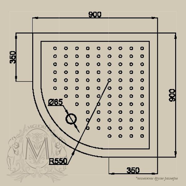 Душевой уголок ML.DDM-22.790.ST BR, профиль бронза/стекло матовое с декором