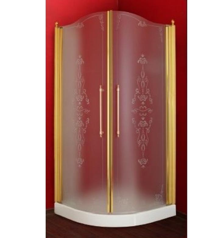 Душевой уголок ML.DDM-22.790.ST.DO, профиль золото/стекло матовое с декором