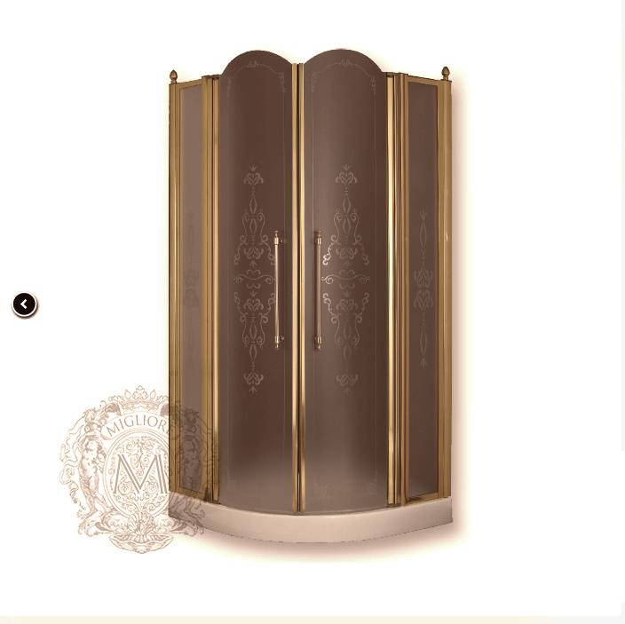 Душевой уголок ML.DDM-22.690.TR.BR, профиль бронза/стекло прозрачное с декором