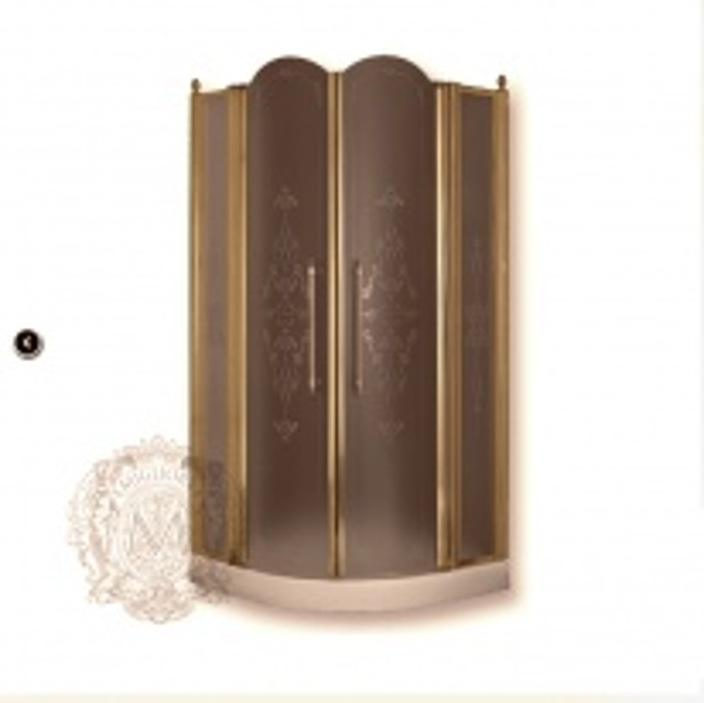 Душевой уголок ML.DDM-22.690.ST BR, профиль бронза/стекло матовое с декором
