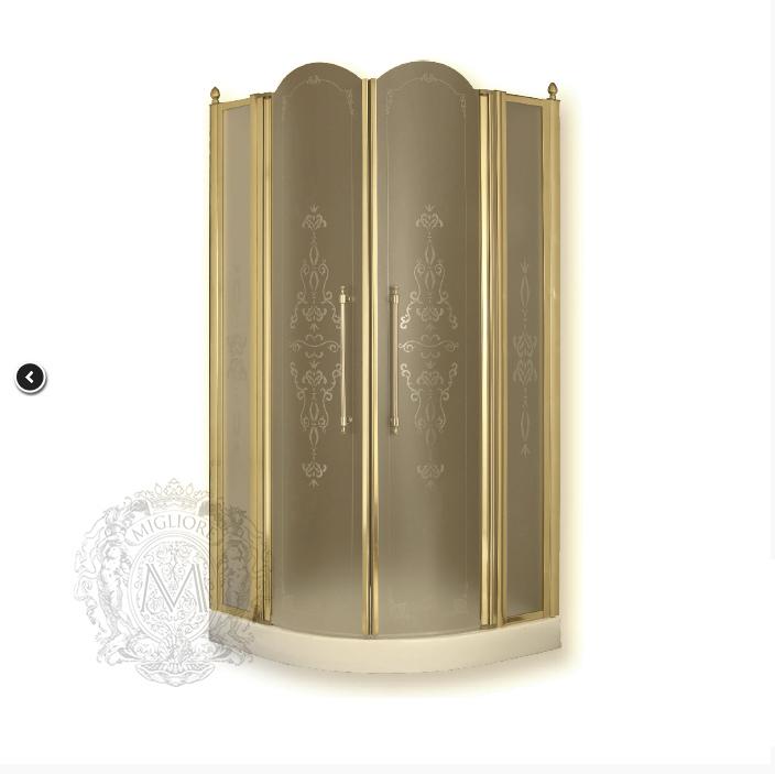 Душевой уголок ML.DDM-22.690.ST.DO, профиль золото/стекло матовое с декором