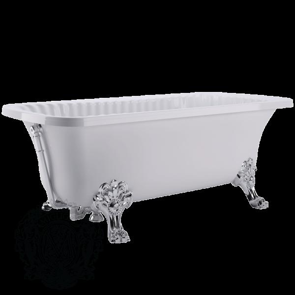 Ванна из литьевого мрамора Migliore OLIVIA ML.OLV-40.105.CR на лапах Migliore, фурнитура хром, 174*80*66 см