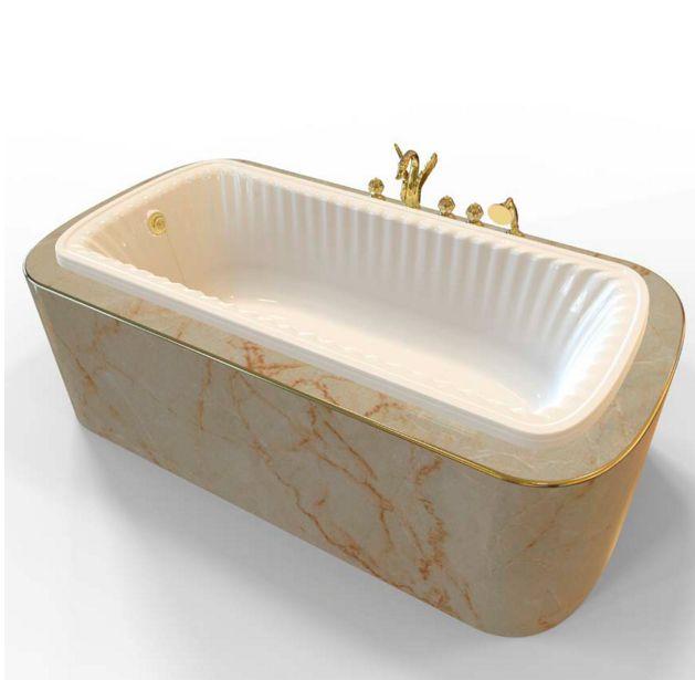 Ванна из литьевого мрамора Migliore OLIVIA Podium ML.BLL-40.104.DO, встраиваемая в подиум, фурнитура золото, 174*80 см