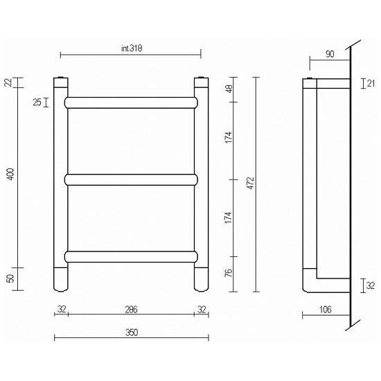 Полотенцесушитель электрический Margaroli Vento 540/S ВОХ, арт. 540/S, хром