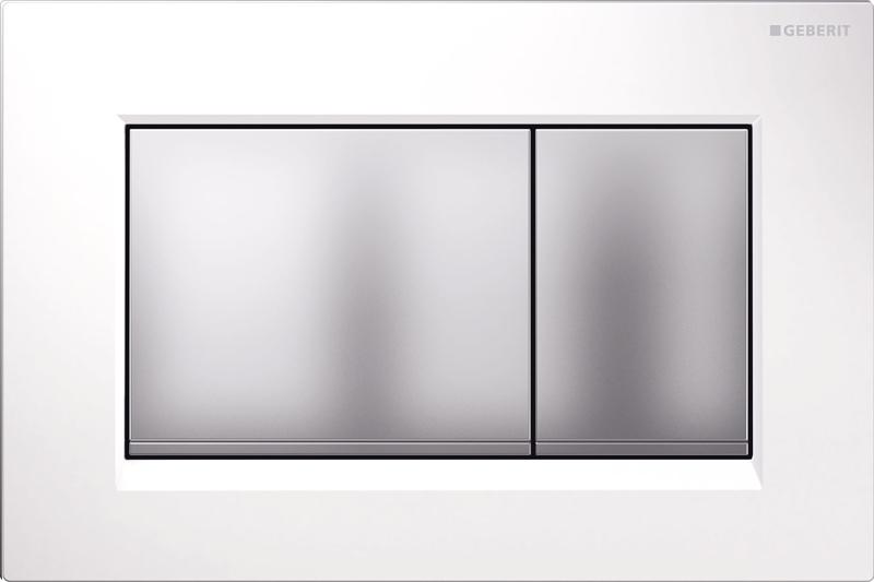 Клавиша Geberit Omega 115.080.KL.1, белая, матовый хром