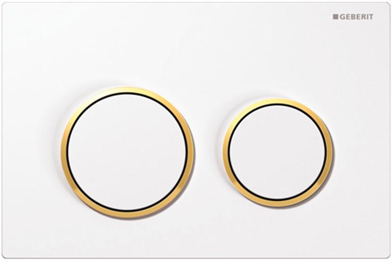 Кнопка 115.085.KK.1, белая, золото