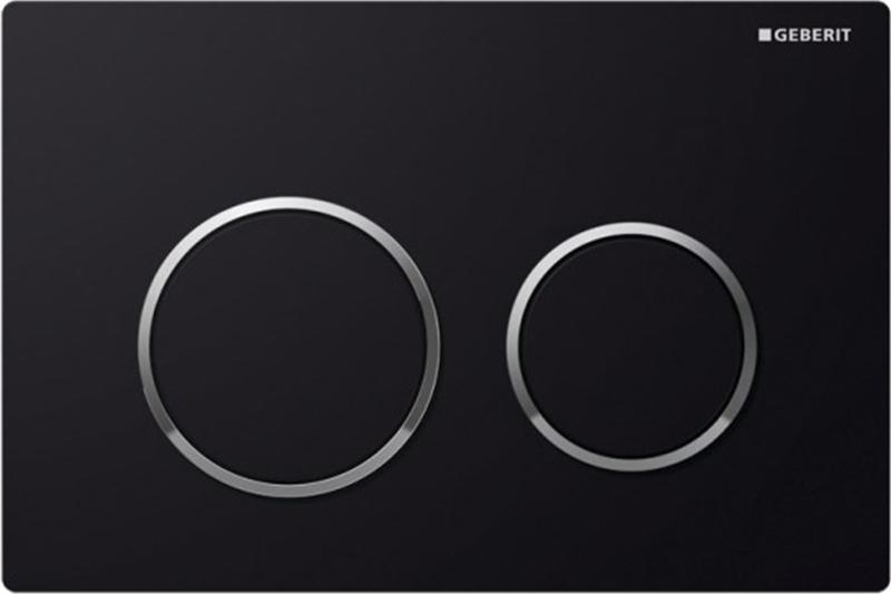 Кнопка 115.085.KM.1, черная, глянцевый хром