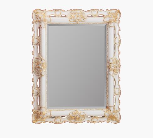 Зеркало прямоугольное Migliore Complementi арт.ML.COM-70.508, белое/золото