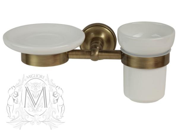 Держатель мыльницы и стакана Migliore Mirella ML.MRL-M066.BR - бронза