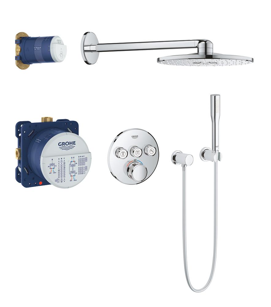 Душевой комплект Grohe Grohtherm 34705000 SmartControl, верхний душ круглый