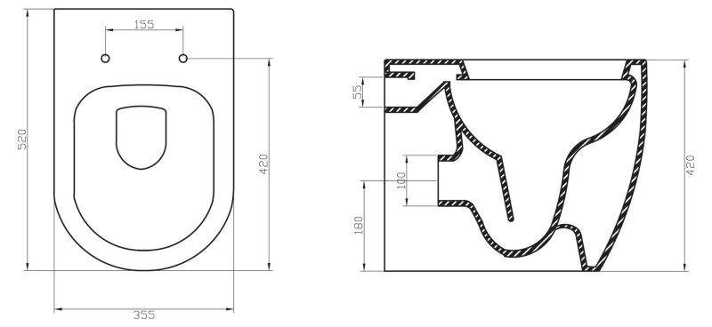 Унитаз приставной BelBagno Marino BB105CBR безободковый