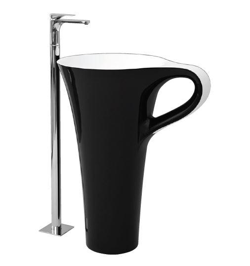 Раковина ArtCeram Cup OSL004 01; 50, напольная отдельностоящая, цвет - черно-белый, 69 х 50 х 85 см
