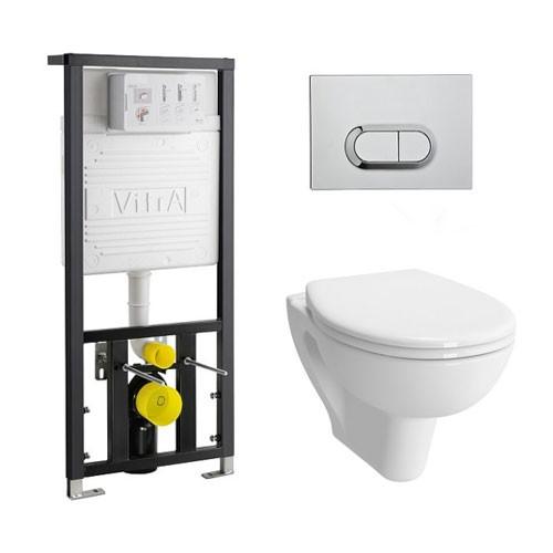 Комплект Vitra S20 9004B003-7203: инсталляция + унитаз безободковый VitrA Flush + клавиша хром матовый + крышка-сиденье стандарт