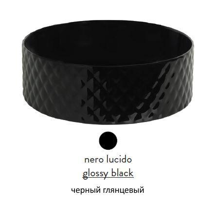 Раковина ArtCeram Rombo OSL009 03; 00, накладная, цвет - черный глянцевый, 44 х 44 х 14,5 см