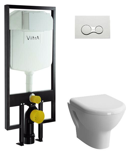 Комплект Vitra Zentrum 9012B003-7205: инсталляция + унитаз + клавиша хром + крышка-сиденье стандарт