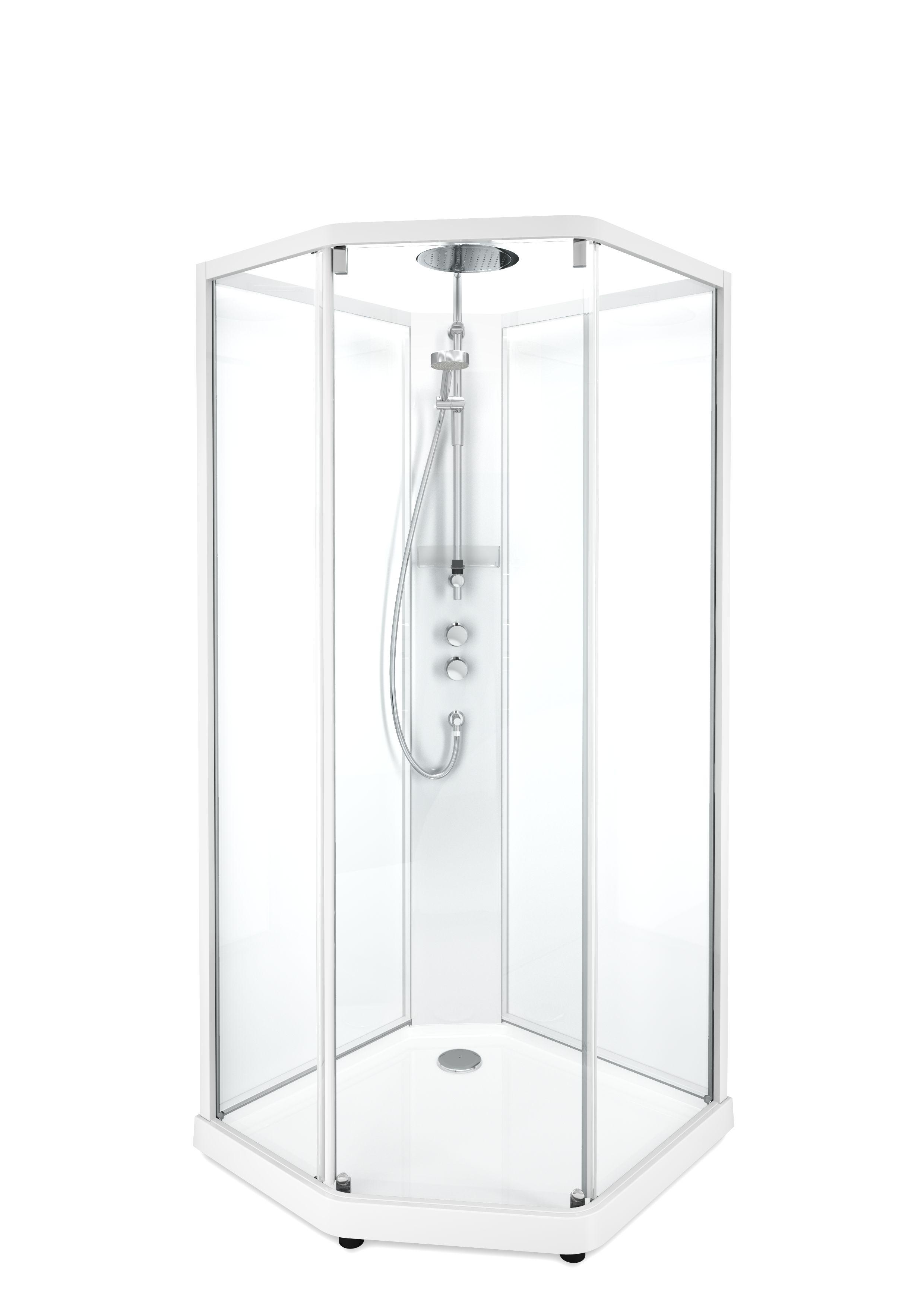 Душевая кабина IDO Showerama 10-5 Comfort, 90х90x215 см, стекло прозрачное, профиль белый