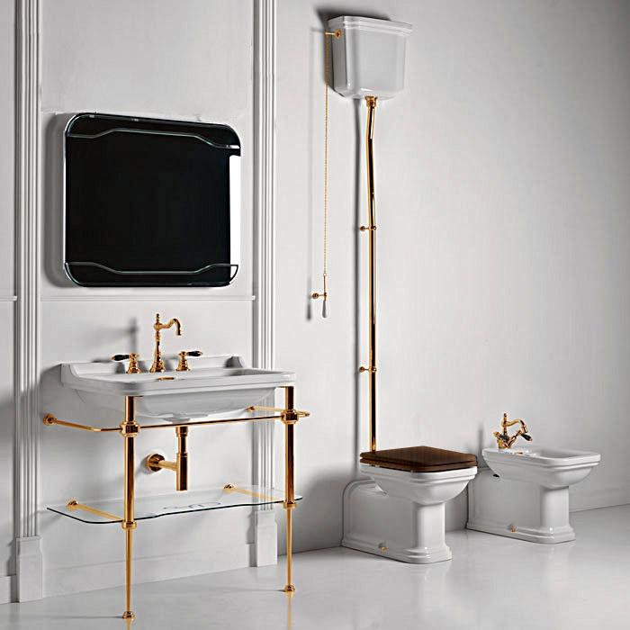Kerasan Waldorf Унитаз пристенный удлиненный 65х37см, с высоким бачком, трубой, фурнитура золото