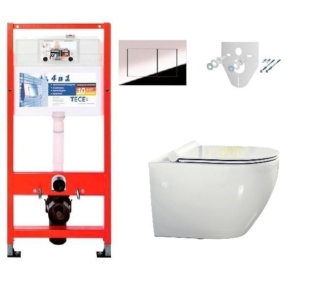 Инсталляция Tece с унитазом BelBagno Sfera-R BB513CH, сиденье микролифт, комплект